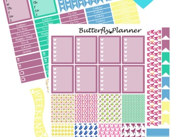Butterfly Printable Planner Stickers, 2 Pages, Digital Download
