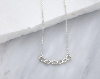 Silver Arc Necklace Simple Pendant Necklace Silver Pendant Necklace