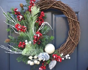 Christmas Wreath, Winter Wreaths, Winter Decor, Winter Decorating, Red Berry Wreath, Evergreen Wreath, Winter Gifts, Gifts for Her