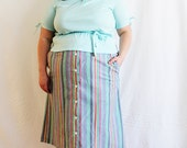 Plus Size - Vintage Rainbow Stripe Button Front Skirt (Size 26W)