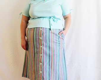 Plus Size - Vintage Rainbow Stripe Button Front Skirt (Size 26W)