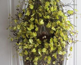 Spring Wreath - Orchid Wreath - Summer Door Wreath - Country Twig Wreath - Yellow Wreath - Spring Door Wreath - Rustic Wreath - Mothers Day