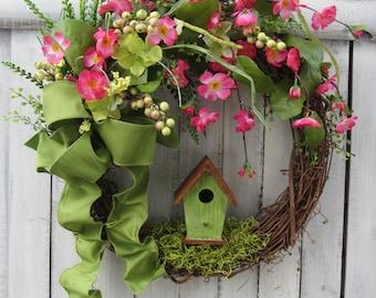Spring Wreath - Birdhouse Wreath - Summer Wreath - Country Twig Wreath - Pink Wreath - Easter Wreath - Rustic Wreath - Mothers Day Wreath