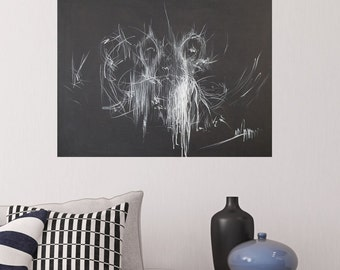 Black and White Painting, Acrylic Abstract Painting, Contemporary Ballet Painting, Ballerina Painting