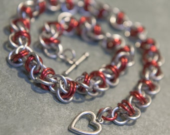 Red & Silver Barrel Weave Chain Maille Choker/Bracelet