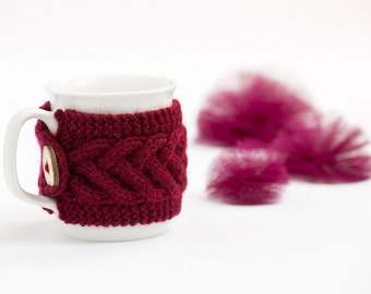 Cup Cozy in Bordeaux, Knitted Mug Cozy, Coffee Cozy, Tea Cup Cozy, Handmade Wooden Button, Coffee Cozy Sleeve, Warmer, Gift, Fall, Winter