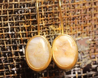 Handcrafted Artisan 24K Yellow Gold over 925 Sterling Silver Natural Gemstone Agate Ancient Roman, Byzantium Art Designer Hook Earrings