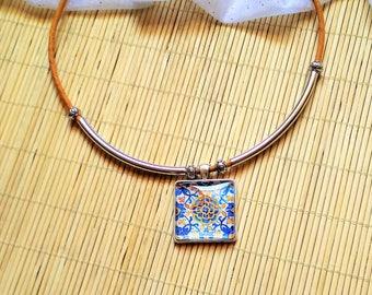 Portuguese Jewelry Portuguese Azulejos necklace, Portuguese Tiles replica Cork Necklace, Portuguese cork, Eco-friendly, Cork