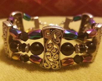 Magnetic hematite bracelets wide