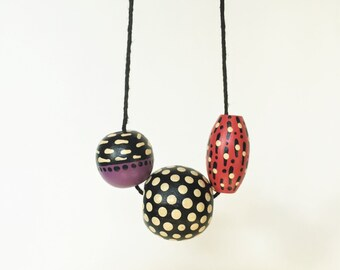 1987 Necklace - Pink Purple Black and White Dots and Slashes - Handpainted Candy Necklace