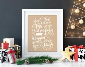 Christmas bible verse, Calligraphy christmas, christmas art print, christmas canvas Christmas decoration Holiday decor hand lettered print