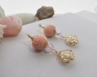 Pink and Gold Flower Cage Drop, Dangle Earrings with Pink Crystals, Jesse James Boho Cage Beads for Summer, Spring, Mother's Day, Weddings
