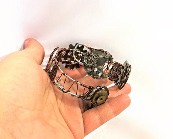 Copper and Aluminum Gears Steampunk Bracelet