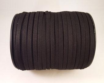 Black Vegan Faux Suede Flat Cord 6mm