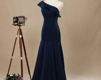 One Shoulder Floor-length Chiffon Bridesmaid Dress,Mermaid Navy Prom Dress