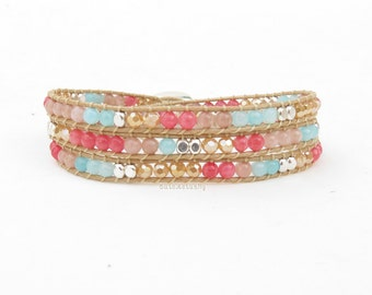 Pink blue stone wrap bracelet with crystal and silver plated beads on soft beige polyester cord, triple wrap bracelet