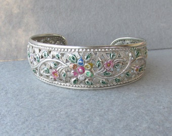 Hand-Patinated Flower Embossed Vintage Sterling Silver Cuff Bracelet