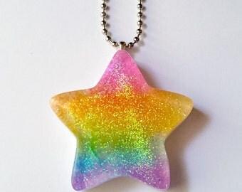 Glitter Neon Rainbow Star Necklace - Kawaii Necklace Rainbow Necklace Kawaii Jewelry Pop Kei Jewelry Oshare Kei Fairy Kei Jewelry Decora