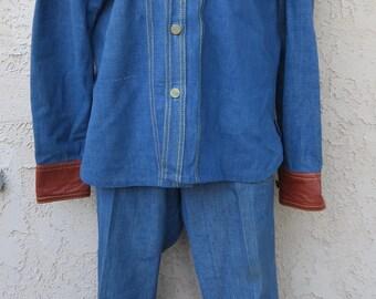 Vintage 1970's denim/leather trim shirt bellbottom jeans pants leisure suit 2 pc set sz M disco