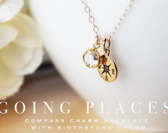 Going places going away gift graduation gift for traveler new adventure compass necklace compass charm necklace new job gift goodbye gift