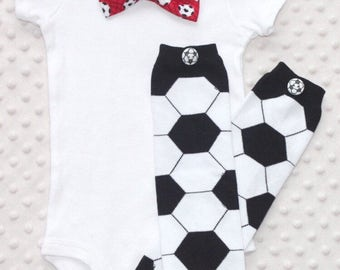 Baby Boy Bow Tie Outfit, Soccer, Leg Warmers, Red, Baby Boy Sports Outfit, Baby Boy Smash Cake Outfit, Baby Boy Clothes, Gift for Baby Boy