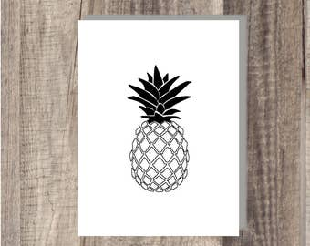 Instant Download - Pineapple print - Black and White