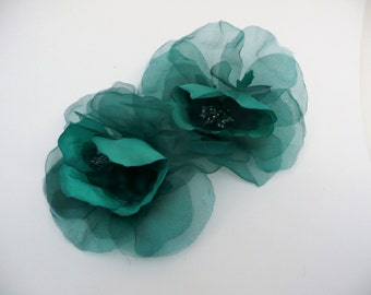 Large Open Jade Green Silk Organza Rose on Pin // Millinery Hat Flowers // Floral Corsage // Wedding Boutonniere // Artificial Flowers