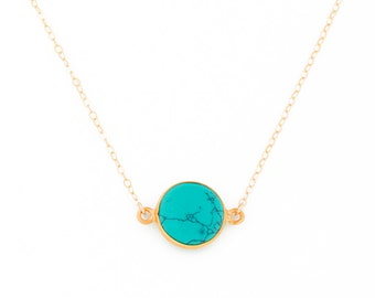 Turquoise Necklace • Gold Turquoise Necklace • Gemstone Necklace • Turquoise Jewelry •  Bridesmaid Necklace | 0261NM