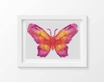Cross Stitch Kit, The Sunset Butterfly Cross Stitch, Embroidery Kit, Art Cross Stitch, Butterfly Series (TAS129)