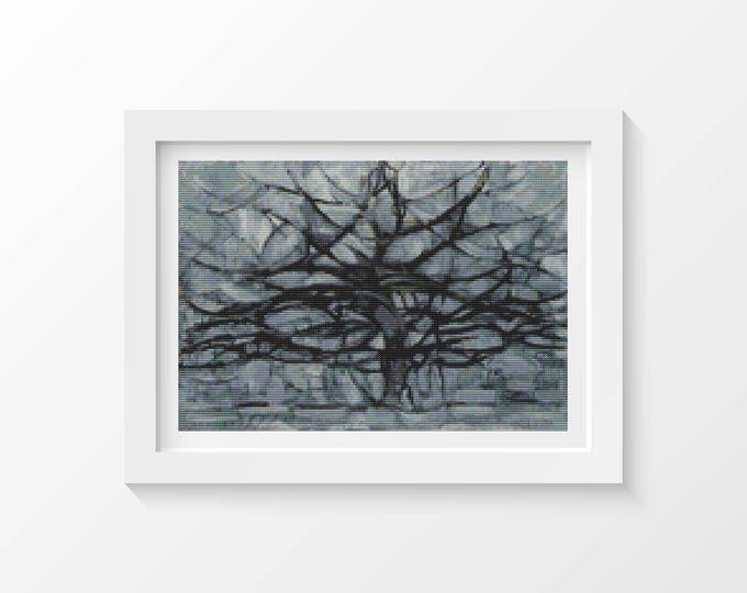 Cross Stitch Kit, Embroidery Kit, Art Cross Stitch, The Gray Tree by Piet Mondrian (PIET01)