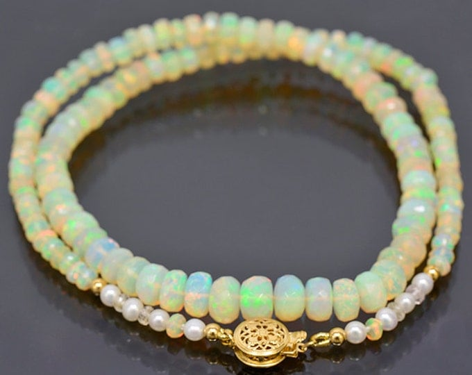 UPRISING SALE! Excellent Faceted Opal Bead Necklace with 14 kt Yellow Gold Clasp 68.0 cts.