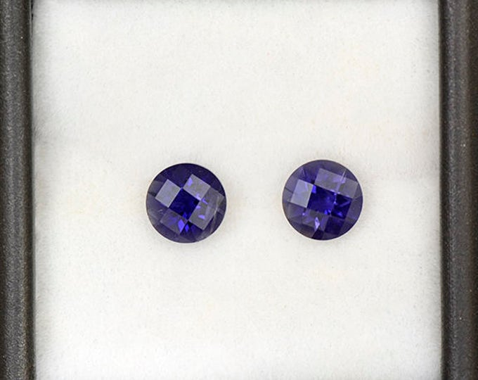 Rich Purple Blue Iolite Gemstone Match Pair from Tanzania 1.54 tcw.