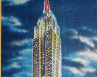 Empire State Building, New York City, Vintage Postcard, Night View, 1930s