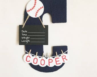 "Baby Hospital Door Hanger, Personalized Letter ""C"" with Chalkboard"