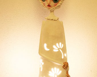 Paper mache, paper clay, paper lamp, table light, kids night light, floor lamp, gift for her, ambient, lamps, paper lampshade, sculpture