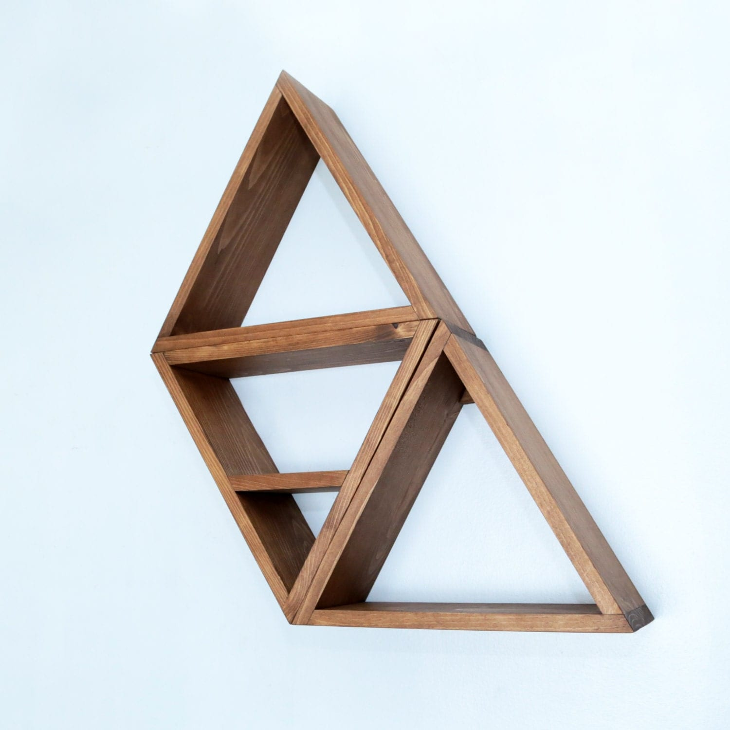 Geometric modern shelving triangle shelf by haasehandcraft - Triangular bookshelf ...