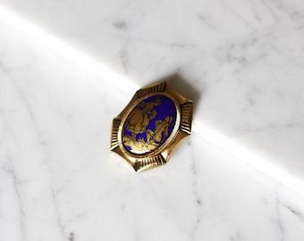 1960s gold and blue brooch // cameo brooch // vintage brooch