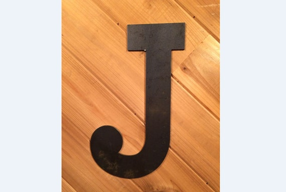 Large Metal Letter J Rustic 22 Raw Or Painted Metal Letter J Rustic Metal