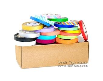 20 rolls - mt Slim Japanese Washi Tape Set with Kraft Storage Box - 6mm & 8mm Perfect for Planners - Neon, Metallic, Matte, Twist