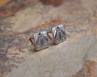 Square silver studs, Argentium silver square stud earrings, leaf design earrings 8mm square earrings, in stock, handmade by arc jewellery uk