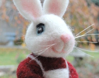 MRS. CLAUS BUNNY - Christmas - Holiday Figurine - Hand Felted - Made To Order