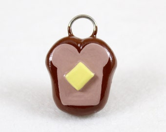 Buttered Toast Charm - Polymer Clay Charm - Miniature Food Charm - Breakfast Jewelry - Food Jewelry - Cell Phone Charm