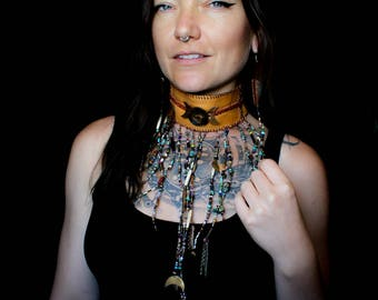 Triple Moon Goddess Leather Beaded Choker Statement Piece(Excluded from Sale)