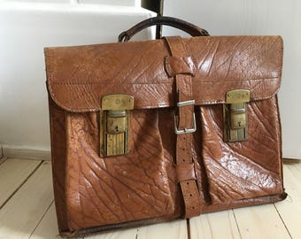 Vintage leather briefcase Mens brown leather briefcase Leather portfolio Large retro laptop bag Made in Germany