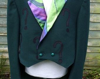 "Men's 46""chest Upcycled green riddler  tailcoat jacket"
