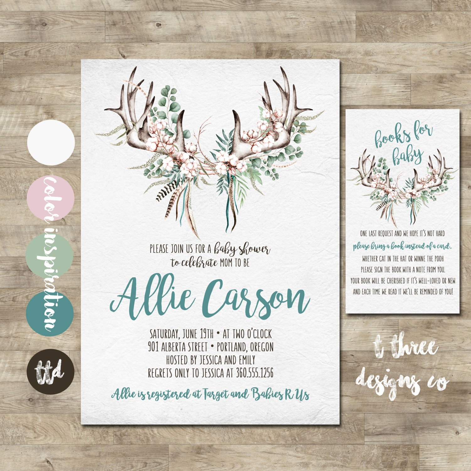 antler baby shower invitation, neutral baby shower invitation, Baby shower