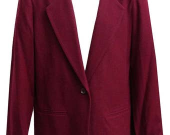 Ladies Maroon Jacket in Standard Style with Two Front Pockets - Fits Size Large