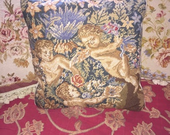 French Country Aubusson Shabby Chic Angel Cherub Needlepoint Pillow