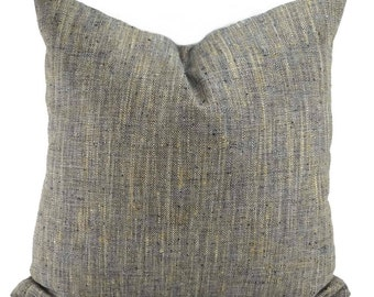 Navy, Tan, & Off White Woven Herringbone Throw Pillow, 20x20 Cover