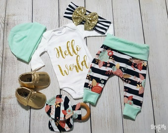 Coming Home Outfit, Baby Girl Going Home Outfit, Hello World Onesie, Newborn Baby Girl Gift Set, * 2 Purchasing Options*